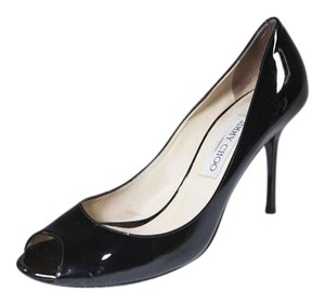 Jimmy Choo 9.5 Open-toe Gloss Black Pumps