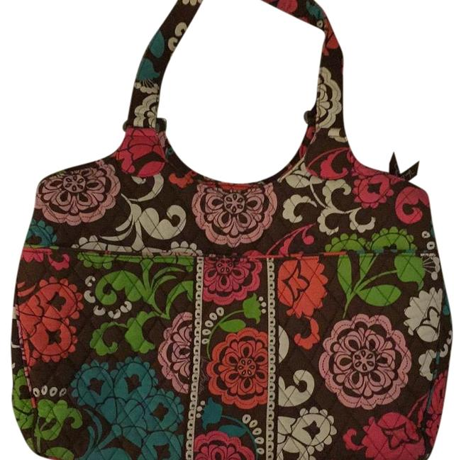 Item - Lola Pattern Brown Background/Pink Green Blue and White Cloth Quilted Laptop Bag