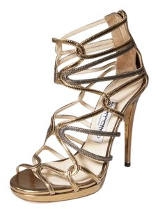Jimmy Choo 6 Platform Caged Gold Sandals
