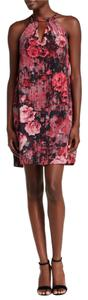 ECI New York Halter Floral Sleeveless Cutout Lined Dress