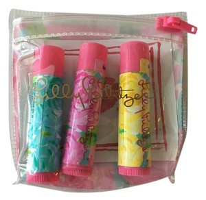 Lilly Pulitzer NWT Lilly Pulitzer First Impression Set of 3 Lip Balm/Gloss and Pouch