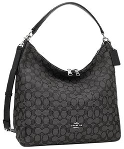 Coach Strap Slouchy Monogram Leather Zip Top Hobo Bag