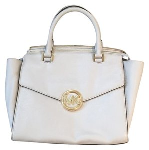 Michael Kors Leather Gold Hardware Classic Structured Satchel in White