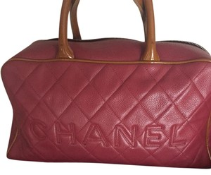 Chanel Lambskin Leather Satchel in Pinkish Red
