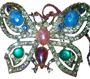Unknown VINTAGE MULTI-COLOR GEM STONE GOLD-PLATED BUTTERFLY BROOCH/PIN