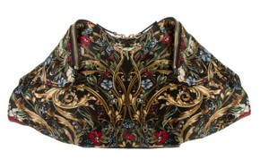 Alexander McQueen Embroidered Emerald Green Black Gold Clutch
