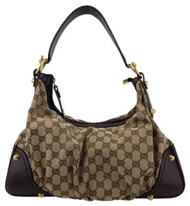 Gucci Signature Canvas Jockey Hobo Leather Shoulder Bag