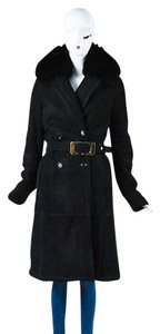 Gucci Shearling Fur Lined Collared Belted Long Coat