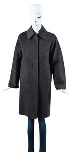 Max Mara Gray Wool Cashmere Pointed Long Sleeve Car Coat