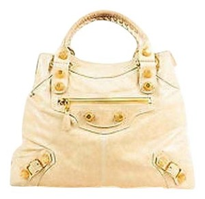 Balenciaga Leather Distressed Ghw Double Handle Giant 21 Brief Tote in Beige