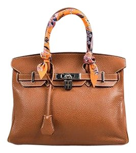 Hermès Gold Clemence Grained Leather 30cm Twilly Scarf Tote in Brown