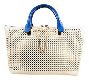 Chloé Chloe Baylee Blue Ghw Leather Perforated Handbag Tote in Cream