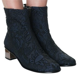 Tibi Brocade Black & Navy Rose Gold Black Navy Boots