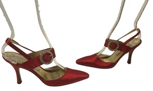 Anne Klein Leather Lining Leather Soles Red satin slingback gorgeous jewel buckle Pumps