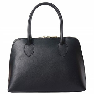Leather-top-handle bag Satchel in Black