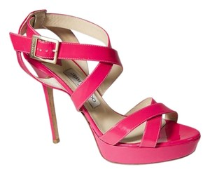 Jimmy Choo Vamp 8.5 Strappy Hot Pink Sandals