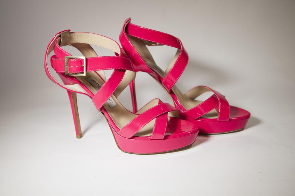 Jimmy Choo Hot Pink Vamp Strappy Sandals Size US 8.5 Regular (M 360560abe