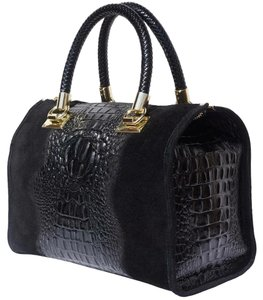 Zuza leather market Satchel in Black