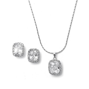 Mariell Silver Cz Cushion Cut Bride Or Bridesmaid Necklace 262s-cr Jewelry Set