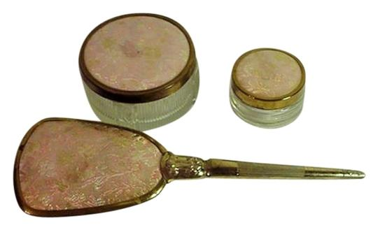 Unknown Vintage Vantiy Brocade Tapestry Gold-Plated Hair Brush/Container Set