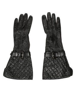 Burberry Black leather Burberry quilted gloves 6.5