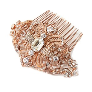 Elegance By Carbonneau Rose Gold And Rhinestone Bridal / Wedding Hair Comb 8356