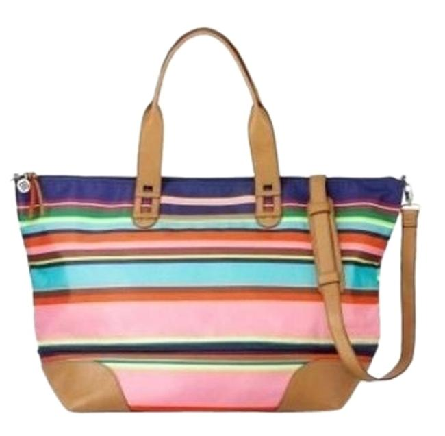 Item - Tote 2 In 1 Tote Bag-let's- Get- Carried - Away Multi Stripes Woven Weekend/Travel Bag