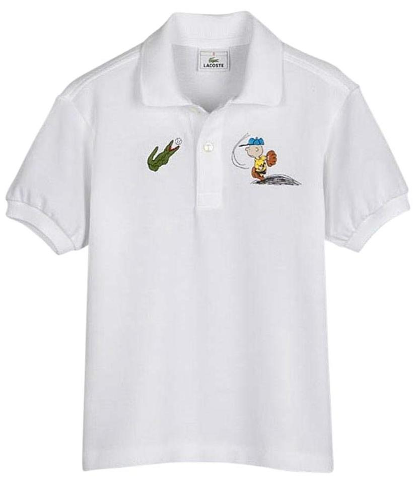 Lacoste croc snoopy embroidered white cotton polo shirt 7 for Lacoste size 4 polo shirt