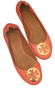 Tory Burch Coral/ gold logo Flats