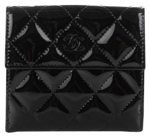 Chanel CHANEL Patent Quilted Compact French Flap Wallet