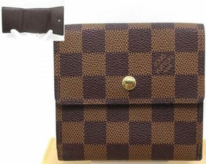 Louis Vuitton France Damier Ebene Portefeiulle Elise Wallet with Coin Pocket