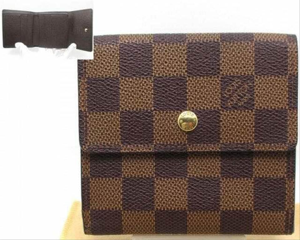 19533527cee2 Louis Vuitton France Damier Ebene Portefeiulle Elise Wallet with Coin  Pocket ...