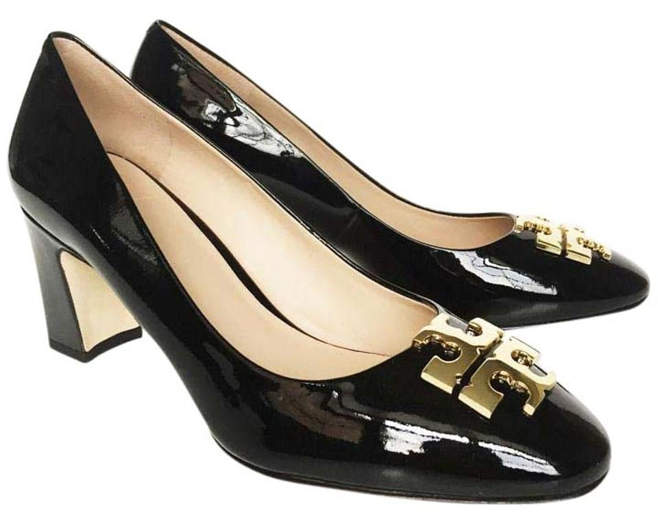 b271b0a1bd7 Tory Burch Black Gold Raleigh Patent Leather Pumps Size US 8 Regular ...