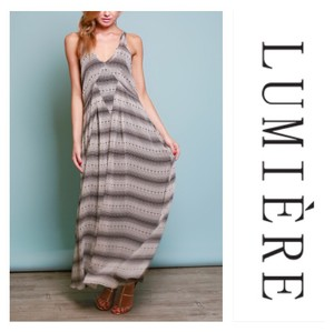 Black and Tan Maxi Dress by Lumiere