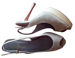 Cole Haan Light Brown Stacked Heel Clean beige Platforms