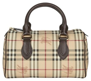 Burberry Check Satchel in Beige