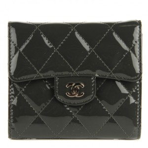 Chanel New CHANEL Patent Leather Quilted Compact Flap Wallet Grey