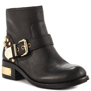 Vince Camuto Leather Upper Gold Studs Black Boots