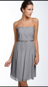 Donna Morgan Gray Chiffon Belted Formal Bridesmaid/Mob Dress Size 8 (M)