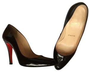 Christian Louboutin Patent Pointed Toe Stiletto Chocolate Brown Pumps