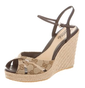 Gucci Gg Ankle Strap Beige, Brown Wedges