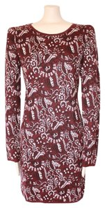 Matty M short dress BURGUNDY Damask Print Medium 8 Winter on Tradesy