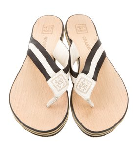 Chanel Interlocking Cc Logo Black, White, Tan Sandals