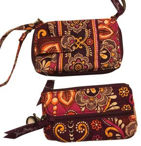 Vera Bradley Paisley Set Bold Vibrant Wristlet in Purple Orange Yellow