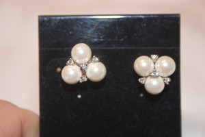 Faux Pearl And Diamond Cluster Earrings