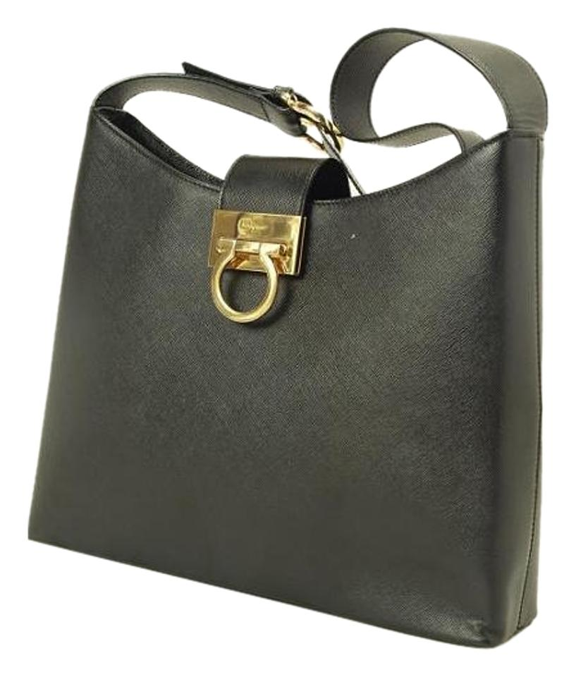 b71733bf44 Salvatore Ferragamo Saffiano Black Leather Shoulder Bag - Tradesy