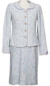 St. John White Lavender Blue Tweed Boucle Wool Blend Knit Dress Suit 6