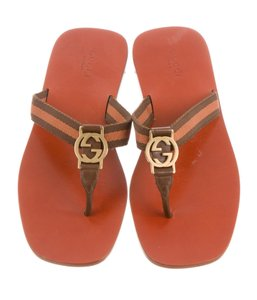 Gucci Gg Gold Hardware Brown, Orange Sandals