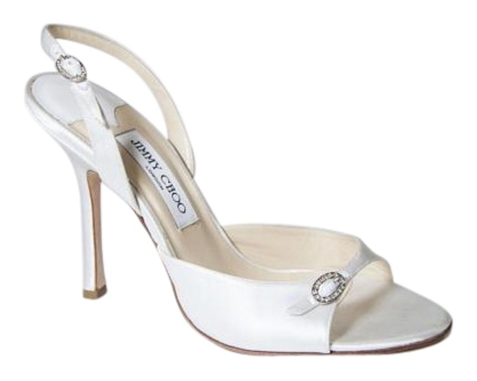 c3458bee63b Jimmy Choo White Bridal Wedding Satin Heels Formal Shoes Size US 10 ...