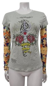 Ed Hardy Multi Floral Tattoo Long Sleeve Top Gray